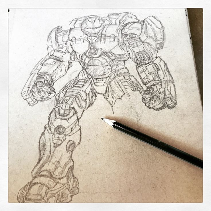 Initial sketch of hulk buster. By huw Williams
