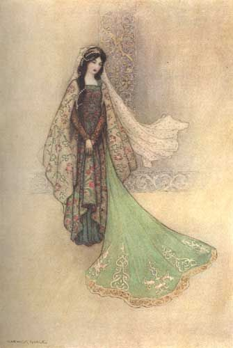 "Warwick Goble, ""The Princess as the Ogre's Bride"" illustration for Giambattista Basile's ""Il Pentamerone"".  Beautiful . . ."