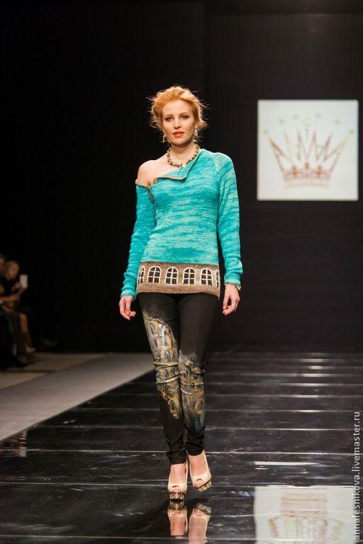 """Купить Джемпер унисекс """"КОЛЛИЗЕЙ"""" - тёмно-бирюзовый, рисунок, Анна Лесникова, норо, дизайнерская одежда"""
