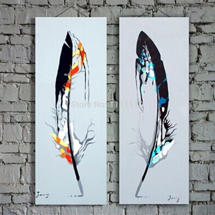 Handmade Cheap Modern Paintings Picture On Canvas Feather Oil Painting Two Pcs No Frame Abstract Pictures For Living Room Decor