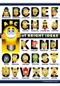 Here's a Bright Idea! Many bright ideas in fact. Brighten up your classroom and encourage creative and visible thinking in your classroom with this colorful A3 Poster. Students could come up with their own ideas that start with each letter of the alphabet.