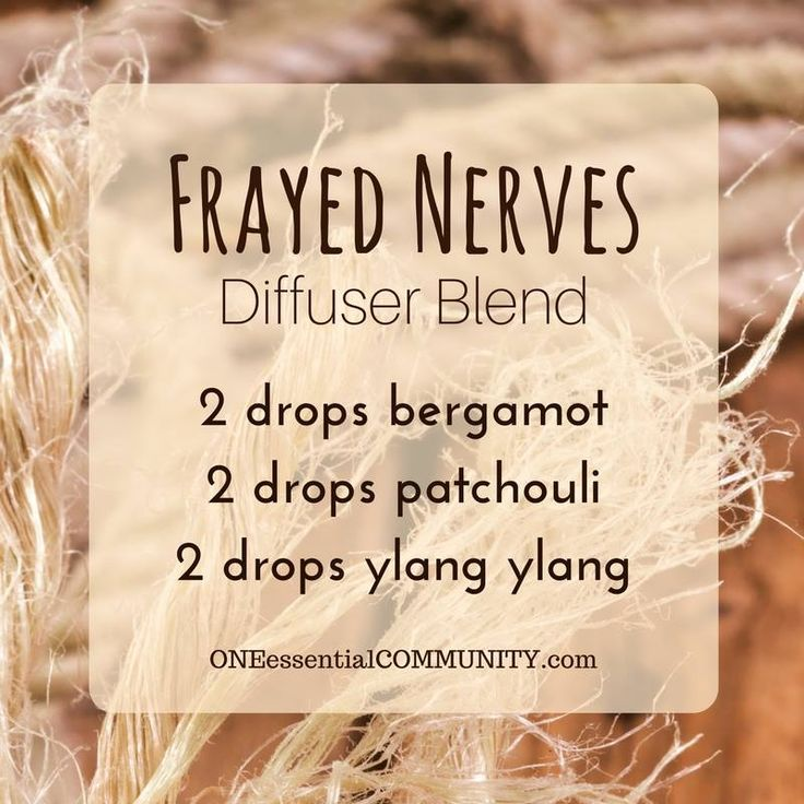 "Can I just say how grateful I am for essential oils?! This ""Frayed Nerves"" blend of bergamot, patchouli, and ylang ylang is the perfect thing to diffuse when you're stressed and on edge."