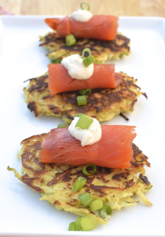 Grain-free, Paleo Parsnip-Apple Latkes topped with horseradish and ...