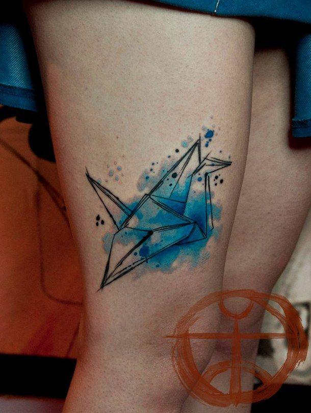 azul, tatuagem, koray karagozler, origami, aquarela, tsuru ...