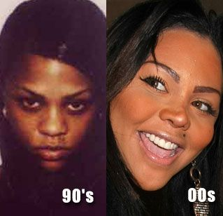 Lil Kim Nose Job, this picture doesn't look bad, but since then she has had much more work done and is unrecognizable from that first picture. lt.