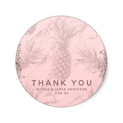 Pink Rose Gold Glitter Pineapple Tropical Favor Classic Round Sticker - bridal shower gifts ideas wedding bride