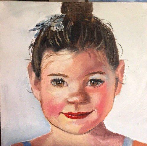 "Custom portrait painting in oil 12""x12"""