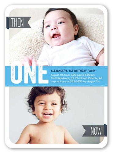 Now He's One 5x7 Invitation Card | Birthday Invitations | Shutterfly