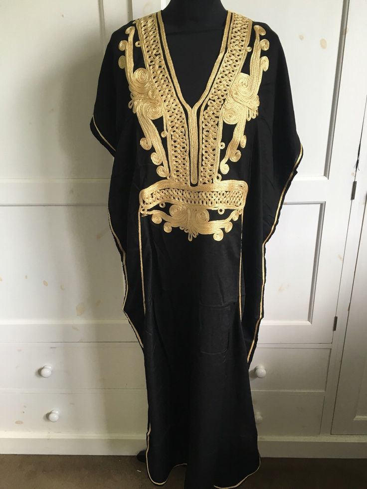 A personal favourite from my Etsy shop https://www.etsy.com/uk/listing/280230314/black-and-gold-cotton-kaftan-uk-size-8