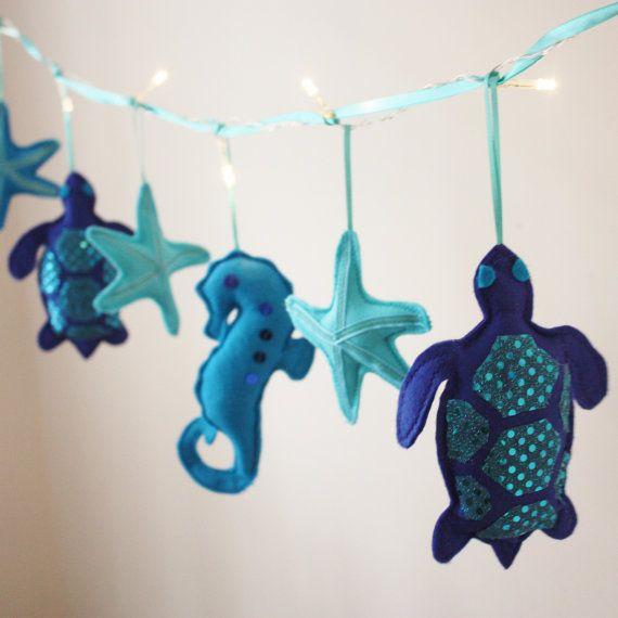 Blue Sea turtle fairy lights -  sea turtle theme, turtle room decor, blue nursery on Etsy, $45.81