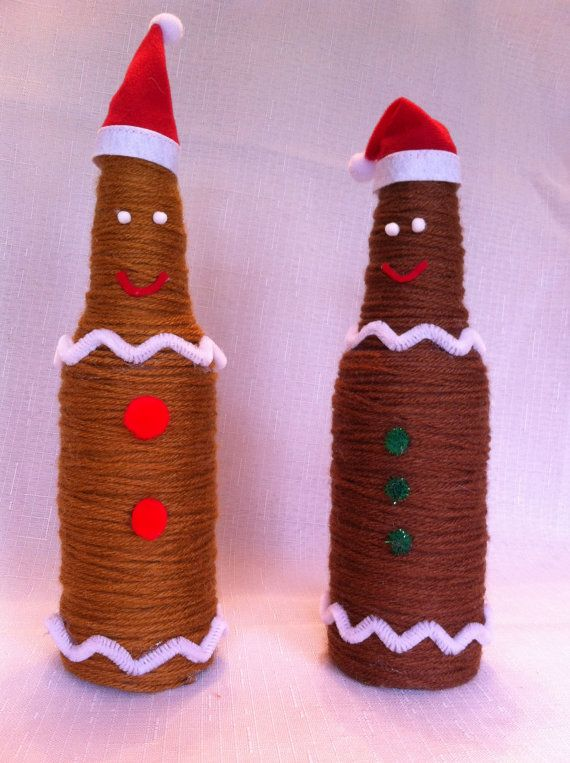 Yarn Covered Recycled Beer Bottle Gingerbread by JSStringDesigns...$12.00