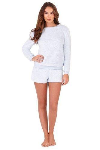 8dbaae87e Ladies Powder Blue Fluffy Fleece Snuggly Short Pyjamas in 2018 ...