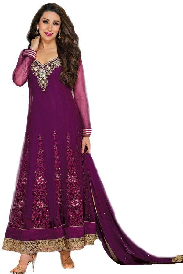 Shop Now - http://valehri.com/salwar-kameez/934-purple-netgeorgette-long-unstiched-salwar-kameez-with-dupatta.html