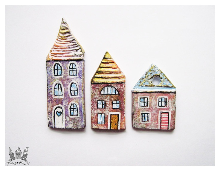 The Little Purple and Lilac Houses Ceramic Fridge Magnets