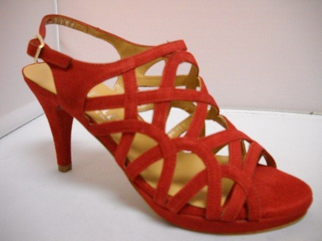 Dansi from Spain.  Stunning suede special occasion heel.  Available in Suede Red and Black.  Heel height of 9cm.   Sizes range 36-41.