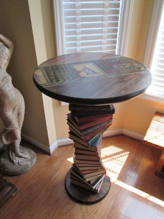 Handmade Upcycled Book Table side table, this would be fun to make for a sitting room or nursery - beautiful and amazing furniture piece.