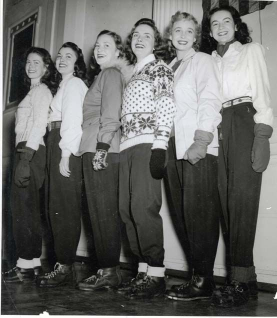 Though pants were worn on the farm, in the factory and during outdoor sports, no attempt was made to glamorize them in the 1940s. Winter Carnival Queen Candidates, 1945