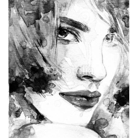 Obraz na płótnie - Czarno-biała twarz kobiety - dostępny w wymiarach 80x70, 70x60 i 60x50 cm #fedkolor #obraz #na #płótnie #ze #zdjęcia #akwarele #farbywodne #kobieta #twarz #portret #czarnobiałe #blackwhite #malowidło #dekoracja #ozdoby #naścianne #wydruki #fotografie #sztuka #art