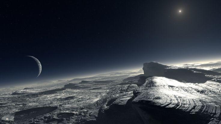 Wallpaper satellite surface planet shine rock star 1920x1080