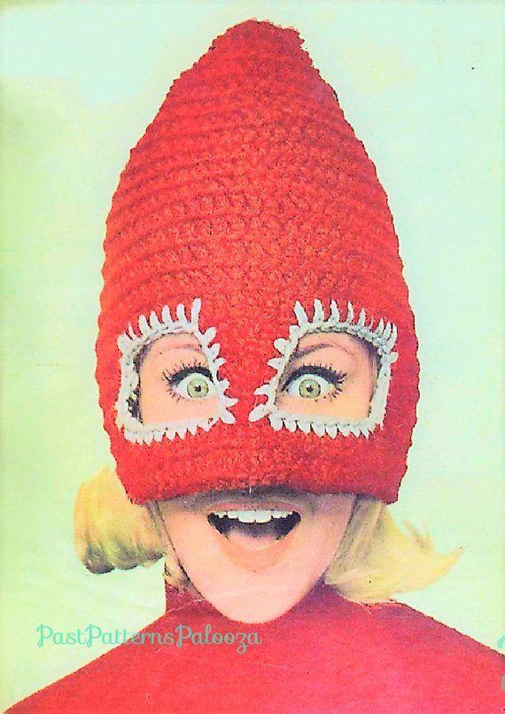 Vintage Crochet Pattern Retro 60s Womens Ski Mask Mad Cap Hat Instant  Digital Download Funky Crazy Fun Mod Novelty Winter Hat Mask 80dcbf43a