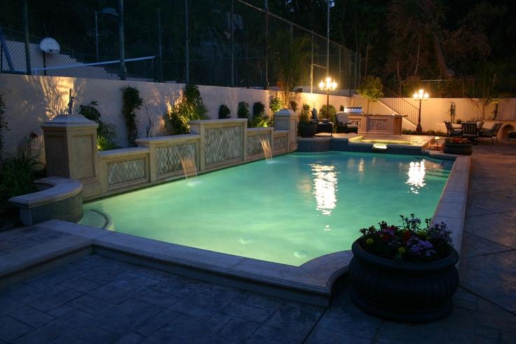 Award Winning Pool Raised Bond Beam Precast Travertine Spa Sheer Decents Pools Pools