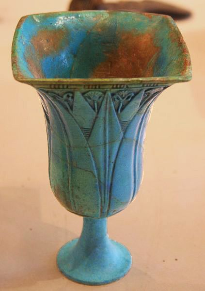 Lotus shaped Blue Chalice, silica faience. 22nd Dynasty Egypt, 945-715 BCE.  Louvre