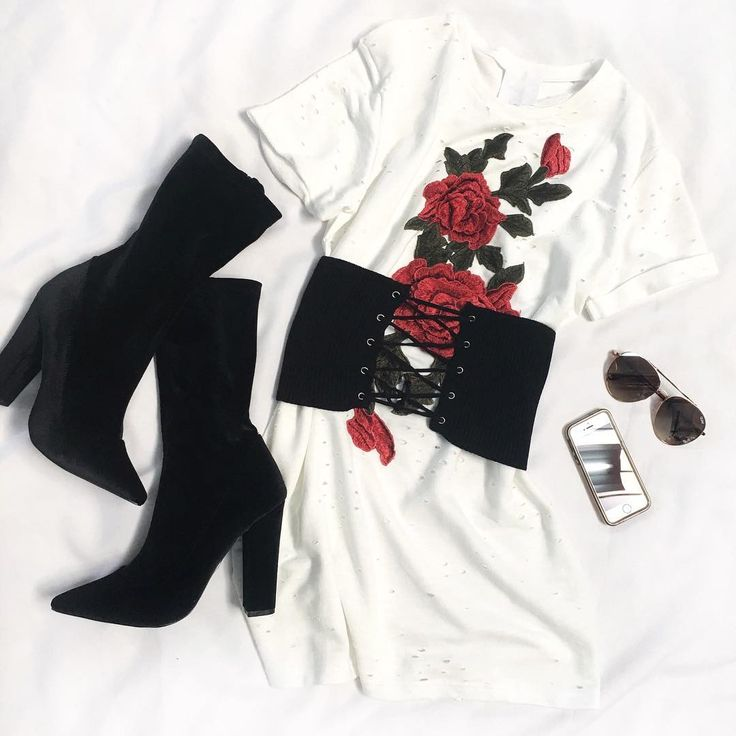 Roses are red, and patches are cool Valentine Patched T-Shirt Dress Like A Glove Ribbed Waist Belt Stone Cold Velvet Boots Quay Australia Lickety Split
