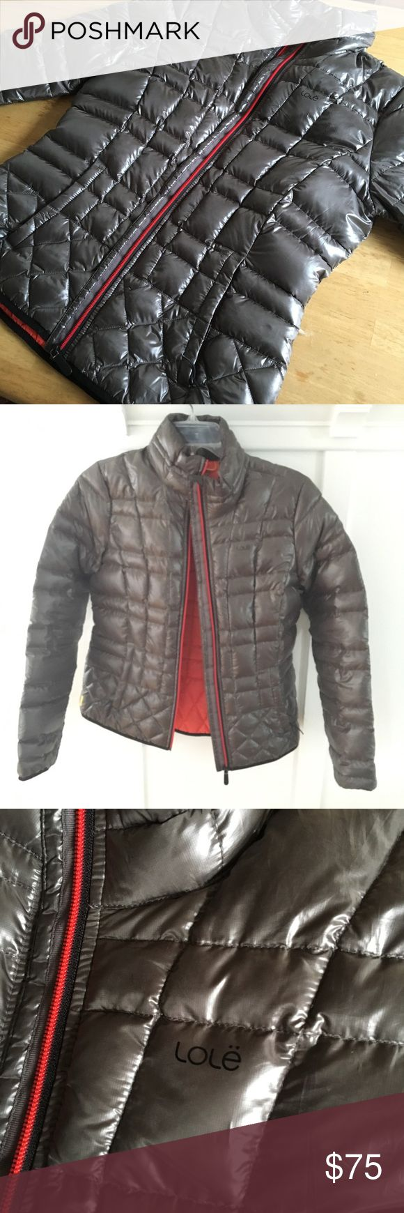 Lole Down Jacket Lole down jacket. Tapered style for feminine look, hardly worn - no signs of wear. Coral inside, inside mesh pocket. Exterior does have a shine to the fabric. Size M -fits 8-10. Lole Jackets & Coats Puffers
