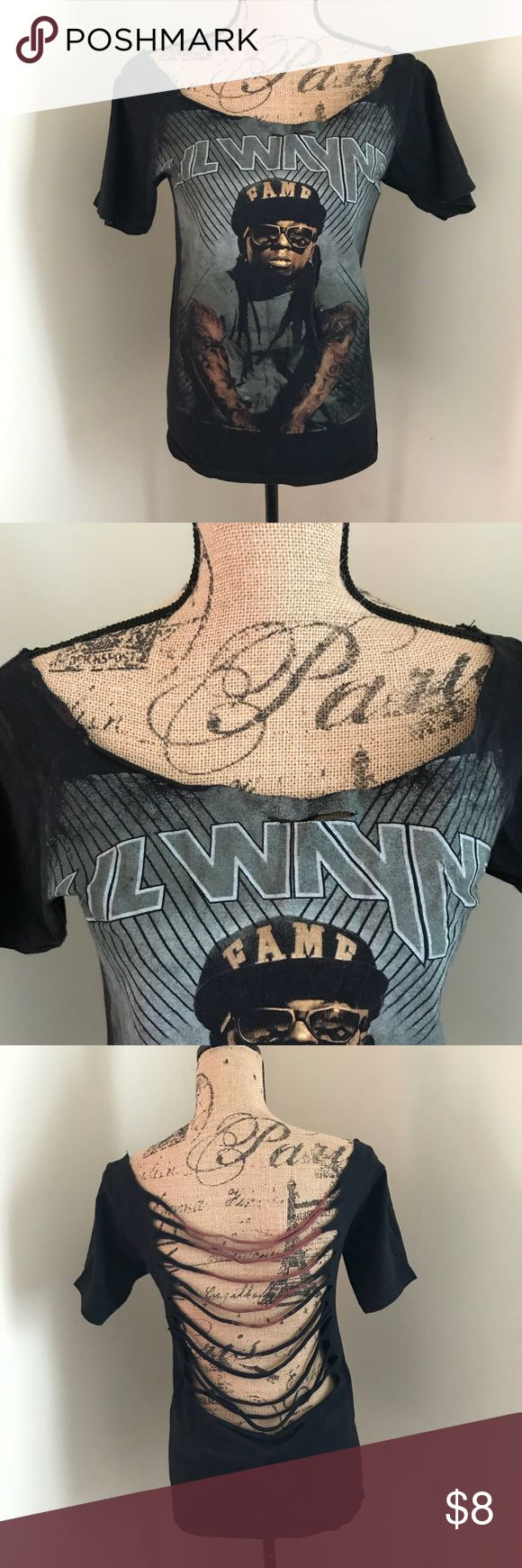 Cut up Lil Wayne Tee Lil Wayne t-shirt with open neck and back cut up design Tops Tees - Short Sleeve