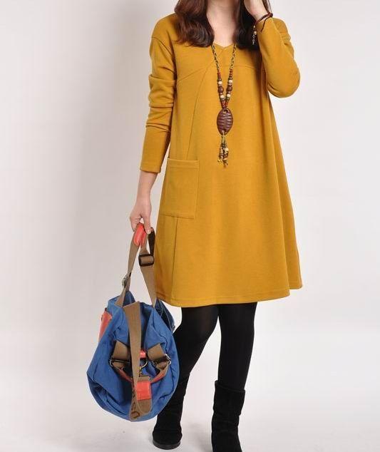Yellow cotton dress Long sleeve dress cotton tops large size dress cotton blouse…