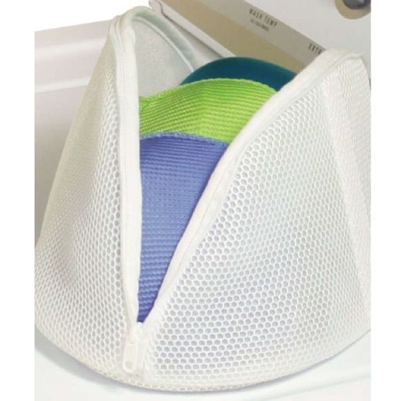 White Micro Mesh Bra Bag Bag is used for washing bras, lingerie, camisoles or other delicate clothing items. Add items to bag, zip and place bag in washing machine. Holds three large bras easily. White mesh fabric. Zipper closure. Perfect for traveling or organizing lingerie drawer. Black mesh bag also available in closet. Please ask questions. Accessories