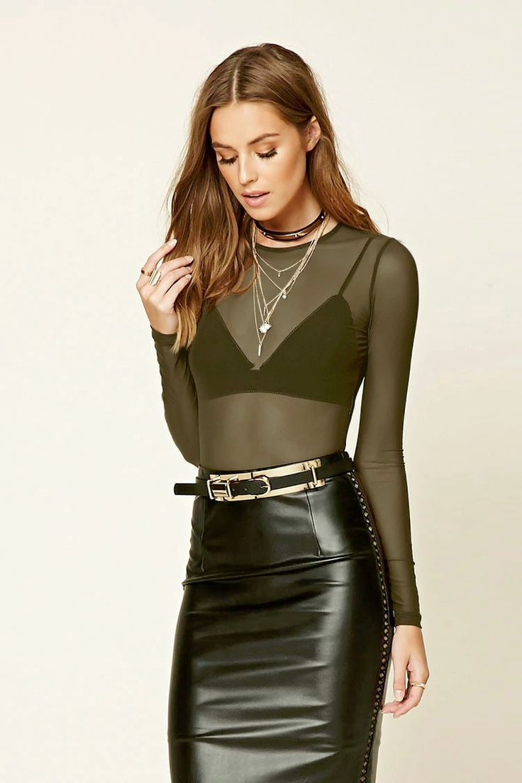 Forever 21 Contemporary - A sheer mesh bodysuit featuring long sleeves, a round neckline, and a snap-button closure.