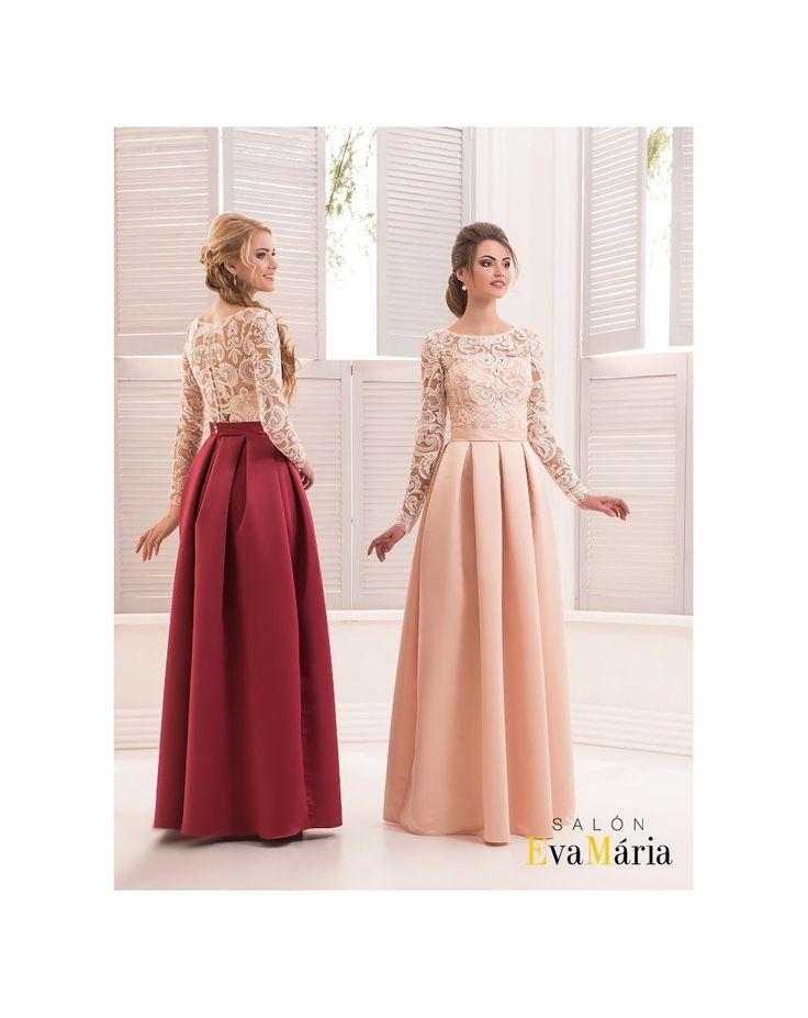 Večerné šatyMonika majú krásne dlhé čipkované rukávy a nádhernú saténovú sukňu, čo robí ztýchto šiat neodolateľný kúsok.Zapínanie na chrbte je rafinovane vymyslené - šnurovačku zahaľuje zapínanie s gombíkmi.