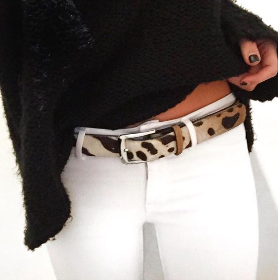 black sweater + white jeans + leopard belt