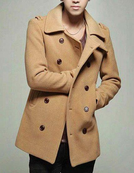 Turn-Down Collar Double Breasted Epaulet Long Sleeve Woolen Peacoat For Men