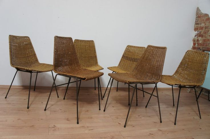 6x basket chair 50er jahre korb st hle dining chairs gian franco legler 50s homemade home. Black Bedroom Furniture Sets. Home Design Ideas