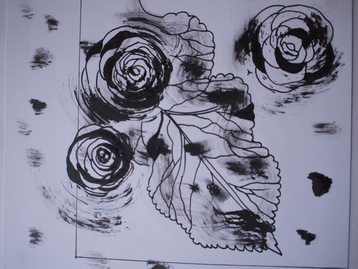 Pine cone roses and leaf, drawn using ink on styrofoam and fine liner