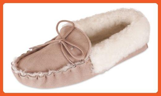 Nordvek Premium Ladies Genuine Sheepskin Moccasin Slippers With Sheepskin Collar And Suede Sole # 416-100, Camel, 5 UK (7.0 M US Women) - Slippers for women (*Amazon Partner-Link)