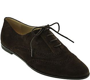 Isaac Mizrahi Live! Suede Oxfords with Pinhole Detail