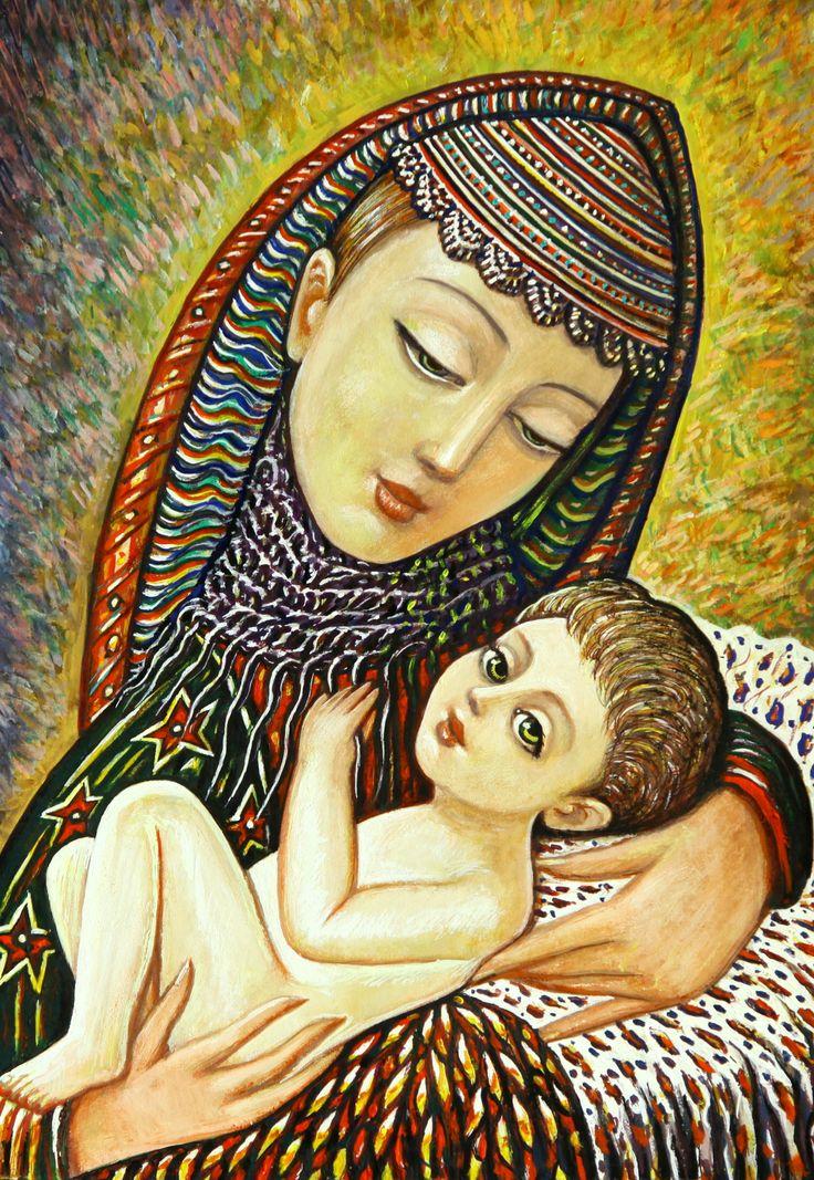 Sevada Grigoryan - Maternity, 2012, 50x35 cm, mixed media on canvas, sold.