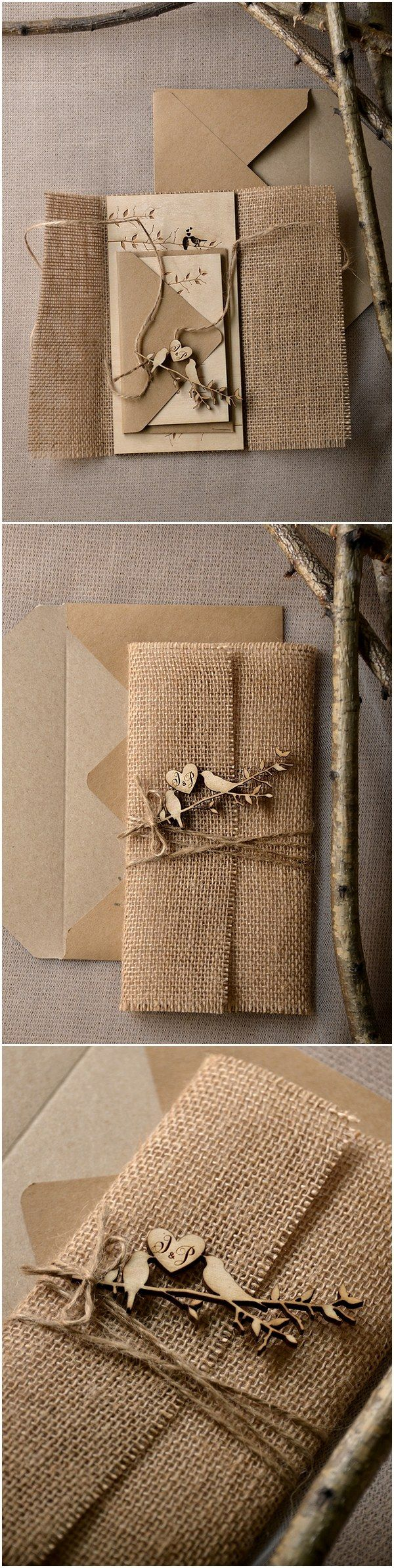 Rustic country burlap wedding invitations with laser cut wood love birds @4LOVEPolkaDots