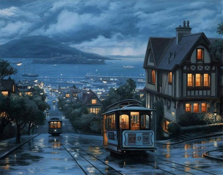 An Evening Journey by Evgeny Lushpin – Easy DIY Paint by Numbers Kits OwlCube Canvas Wall Art