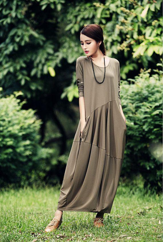 Maxi Dress / Drape Longsleeved Dress / Green Black Kaftan / Extravagant Long Dress / Party Dress / Daywear Dress by camelliatune