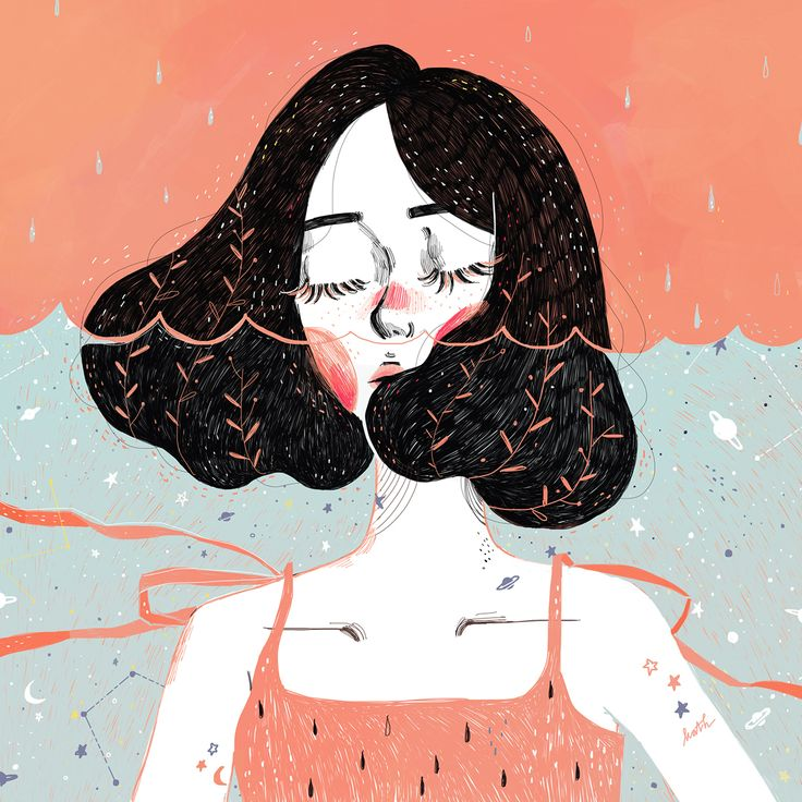 Drowning in thoughts Illustrations of 2015 of Kathrin Honesta, Kuala Lumpur artist, on Behance