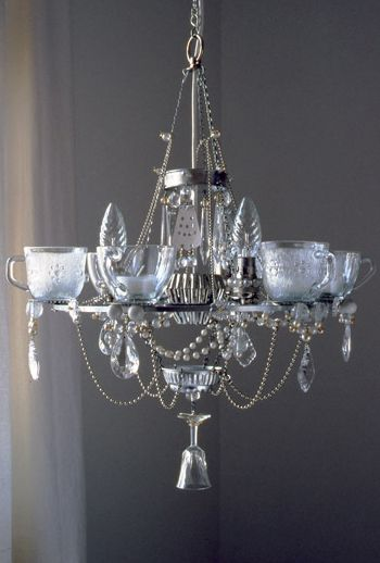 Inspired by the post-war thrift from her parents generation, Madeleine Boulesteix makes opulent chandeliers out of humble kitchen items.  Jelly moulds, teacups and spoons are cleverly assembled to make one of a kind light fittings that complement interiors both traditional and modern.  Image via Chandeliers by Madeleine Boulesteix