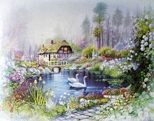 Poster 40x50 cm: Am Teich by Andres Orpinas (Romantische Motive) - jetzt bei Fantastic Pictures online bestellen!
