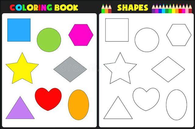 الاشكال الهندسية للاطفال للتلوين Coloring Books Printable Shapes Writing Practice Sheets