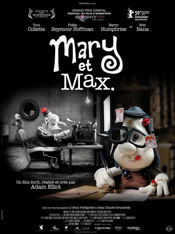 Film d'animation : Sur plus de vingt ans et d'un continent à l'autre, Mary et Max raconte l'histoire d'une relation épistolaire entre deux personnes très différentes : Mary Dinkle, une fillette de 8 ans joufflue et solitaire, vivant dans la banlieue de Melbourne, en Australie, et Max Horowitz, un juif obèse de 44 ans, atteint du syndrome d'Asperger et habitant dans la jungle urbaine de New York.