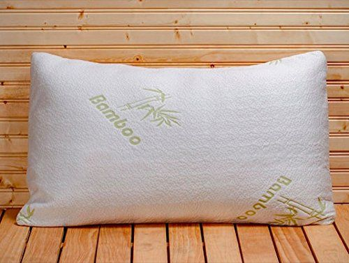 Five Star Hotel Comfort Bamboo Pillow Filled with Shredded Memory Foam with Removable Hypoallergenic Bamboo Cover Case - Luxurious Comfort - Shredded Memory Foam For Perfect Contour - Best Pillow for Side Sleeper - Helps with Neck and Back Pain - Sto
