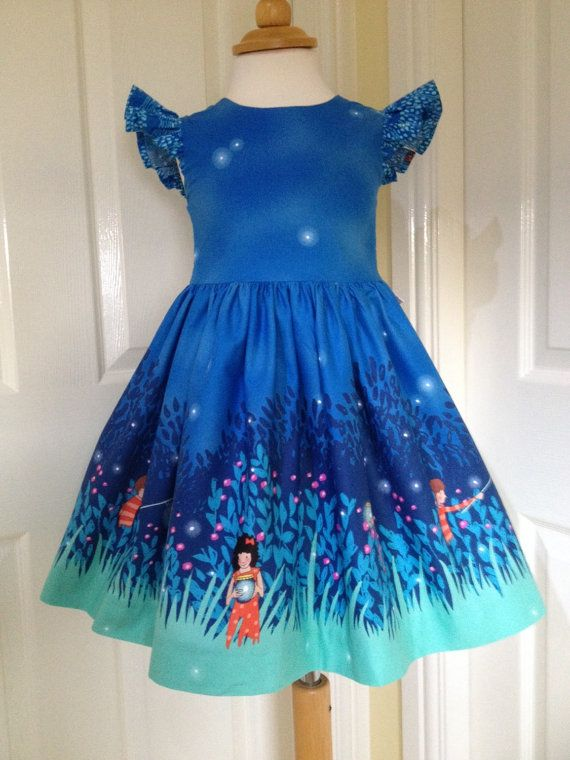 Girls blue party dress Michael Miller Wee Wander by LilyrhodesUK